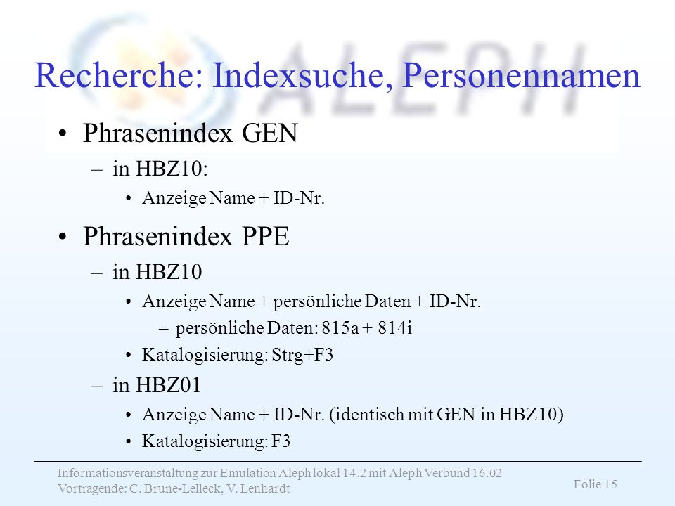 Recherche: Indexsuche, Personennamen