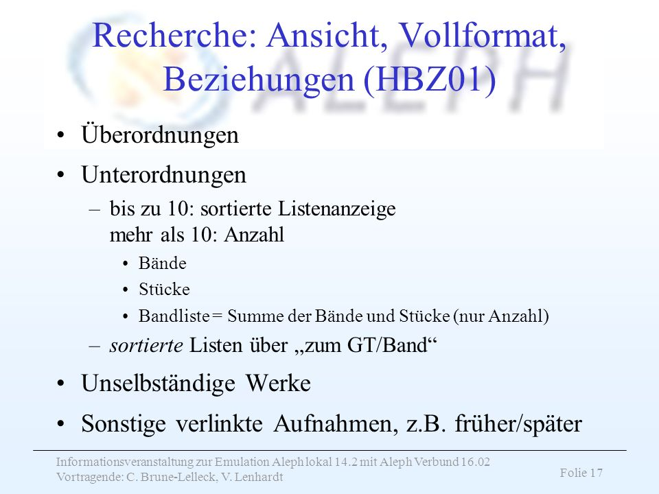 Recherche: Ansicht, Vollformat, Beziehungen (HBZ01)