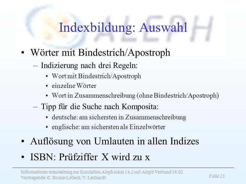Indexbildung: Auswahl