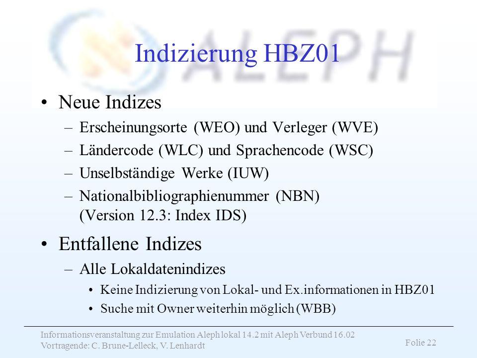 Indizierung HBZ01 Neue Indizes Entfallene Indizes
