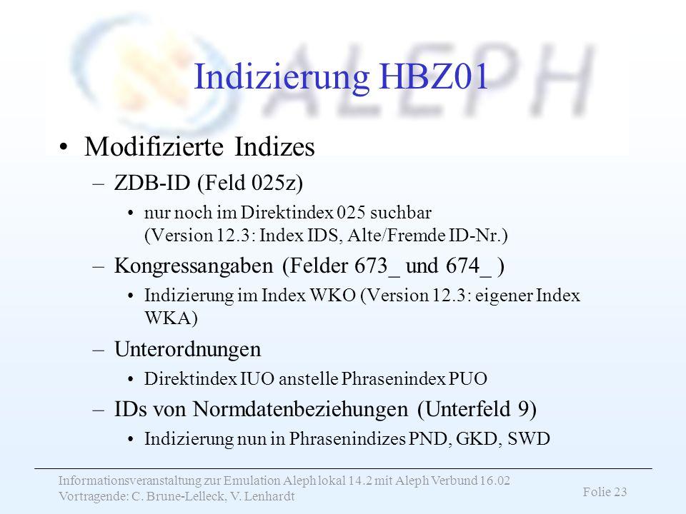 Indizierung HBZ01 Modifizierte Indizes ZDB-ID (Feld 025z)
