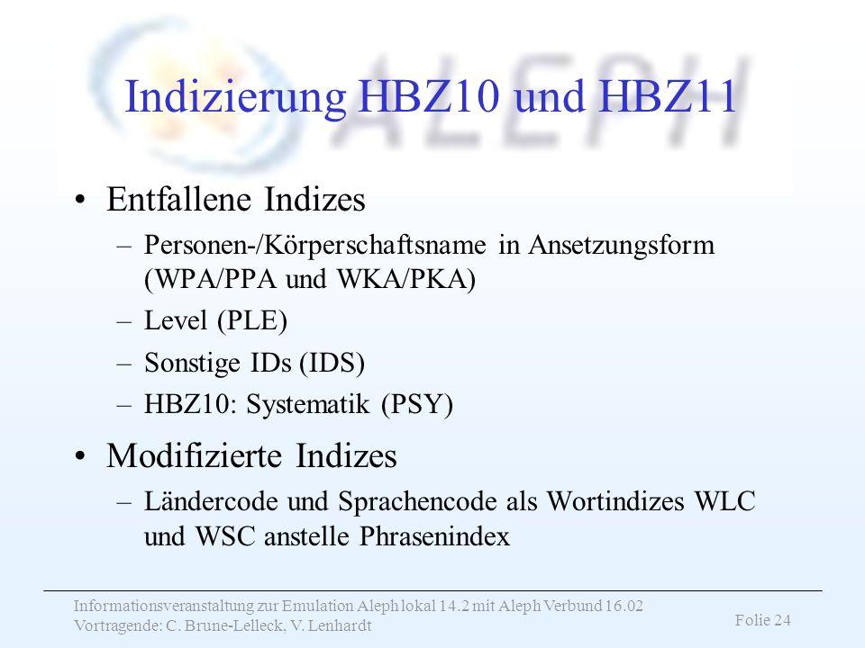 Indizierung HBZ10 und HBZ11