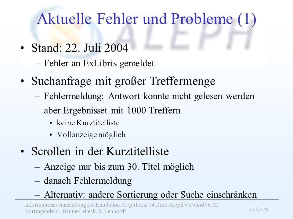 Aktuelle Fehler und Probleme (1)
