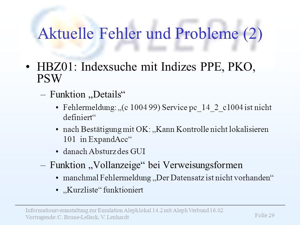 Aktuelle Fehler und Probleme (2)
