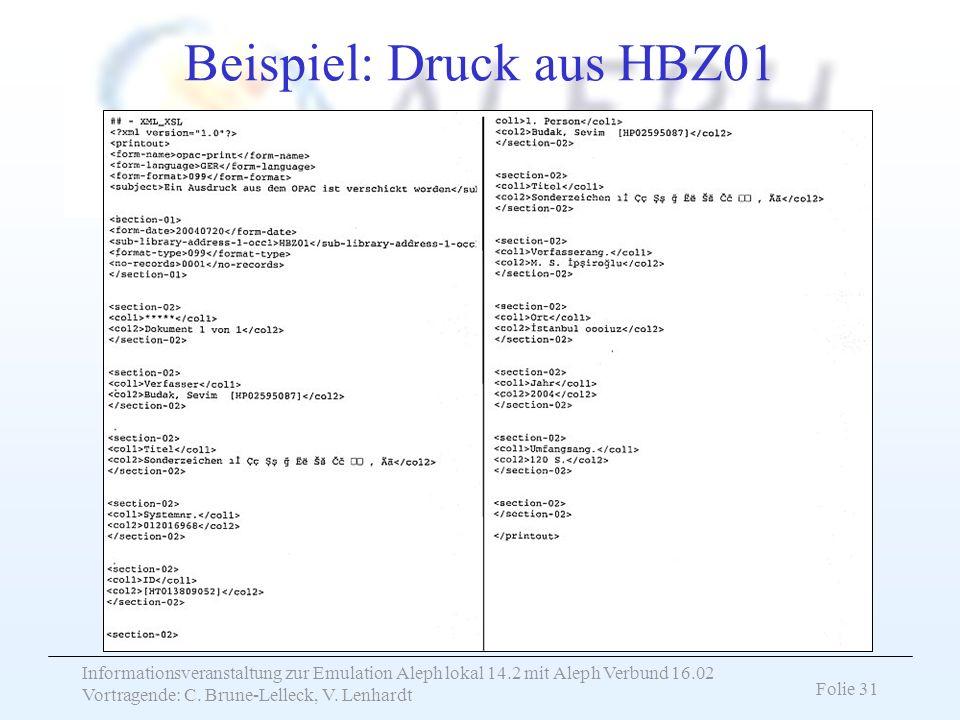 Beispiel: Druck aus HBZ01
