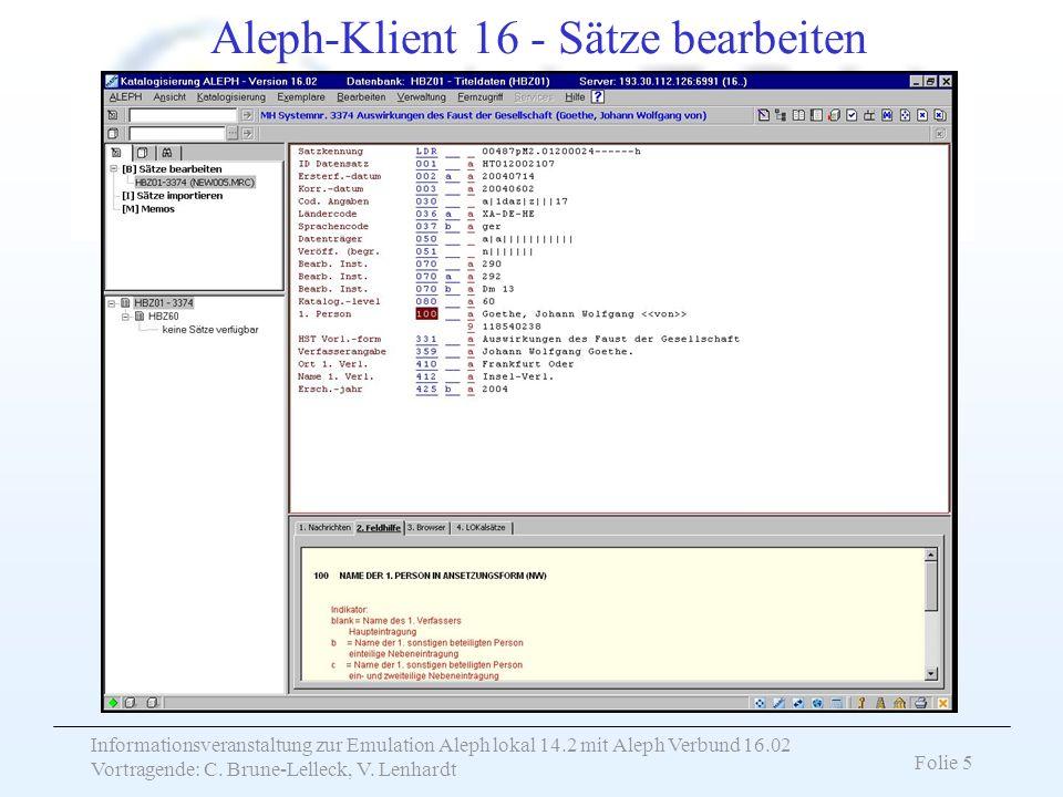 Aleph-Klient 16 - Sätze bearbeiten