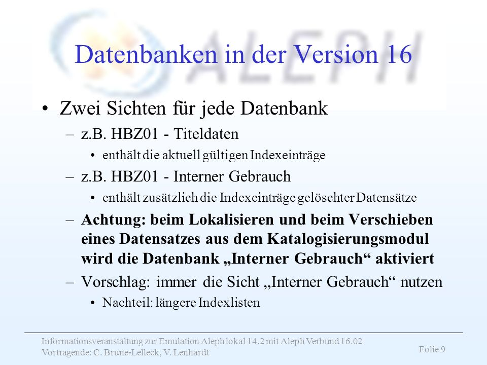Datenbanken in der Version 16