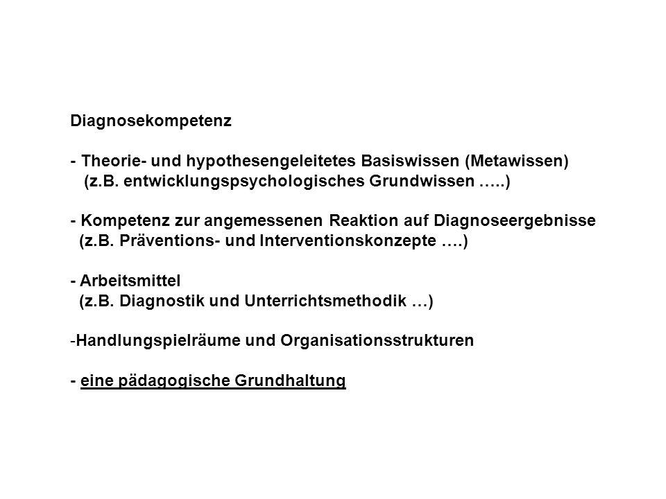 Diagnosekompetenz - Theorie- und hypothesengeleitetes Basiswissen (Metawissen) (z.B. entwicklungspsychologisches Grundwissen …..)