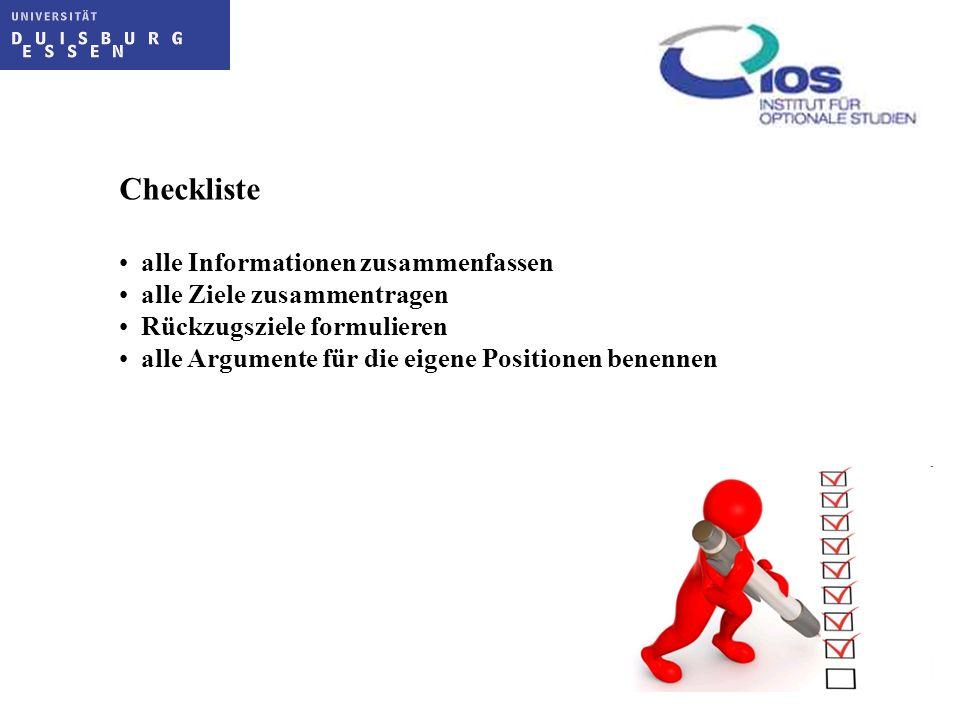 Checkliste alle Informationen zusammenfassen alle Ziele zusammentragen
