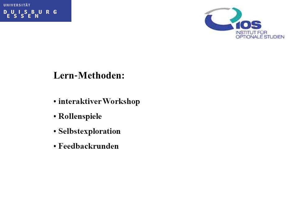 Lern‐Methoden: interaktiver Workshop Rollenspiele Selbstexploration