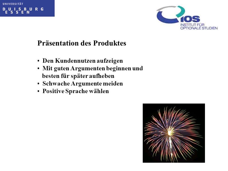 Präsentation des Produktes