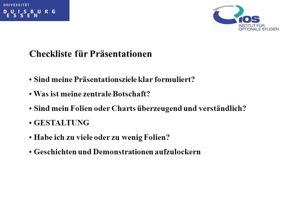 Checkliste für Präsentationen