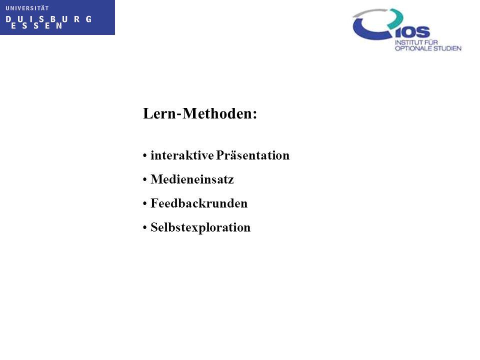 Lern‐Methoden: interaktive Präsentation Medieneinsatz Feedbackrunden