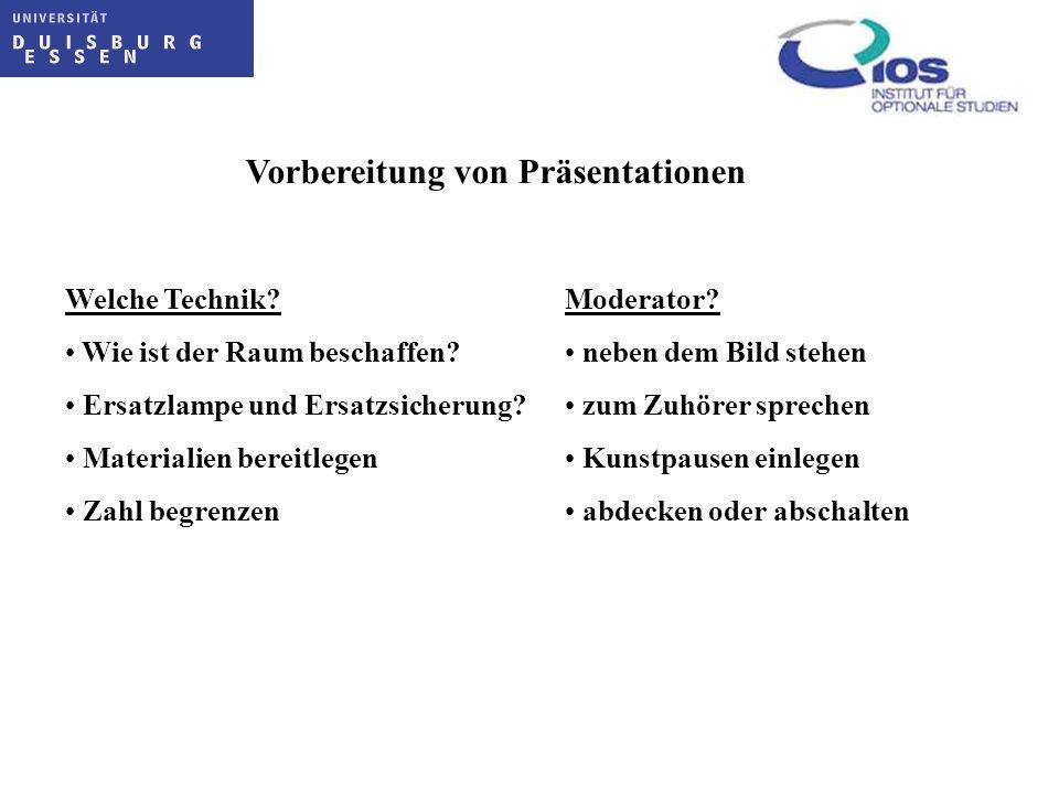 Vorbereitung von Präsentationen