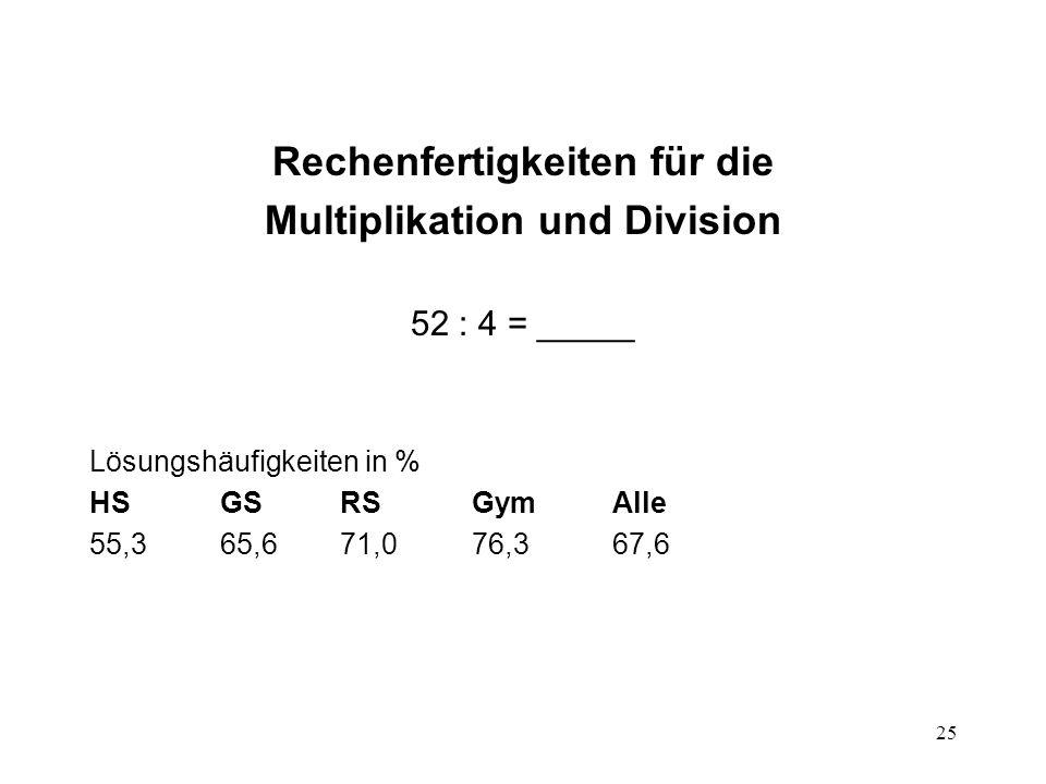 Rechenfertigkeiten für die Multiplikation und Division
