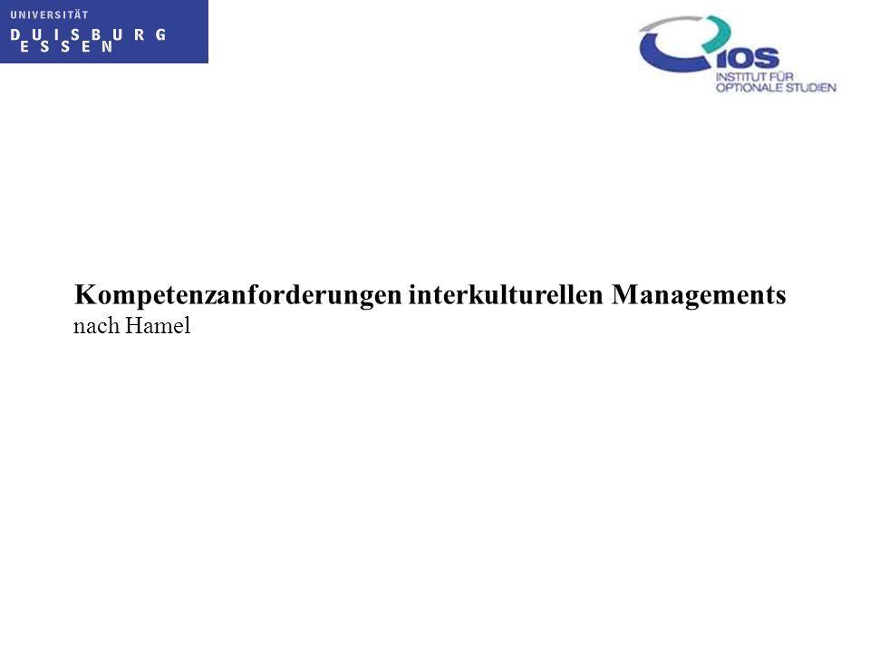 Kompetenzanforderungen interkulturellen Managements