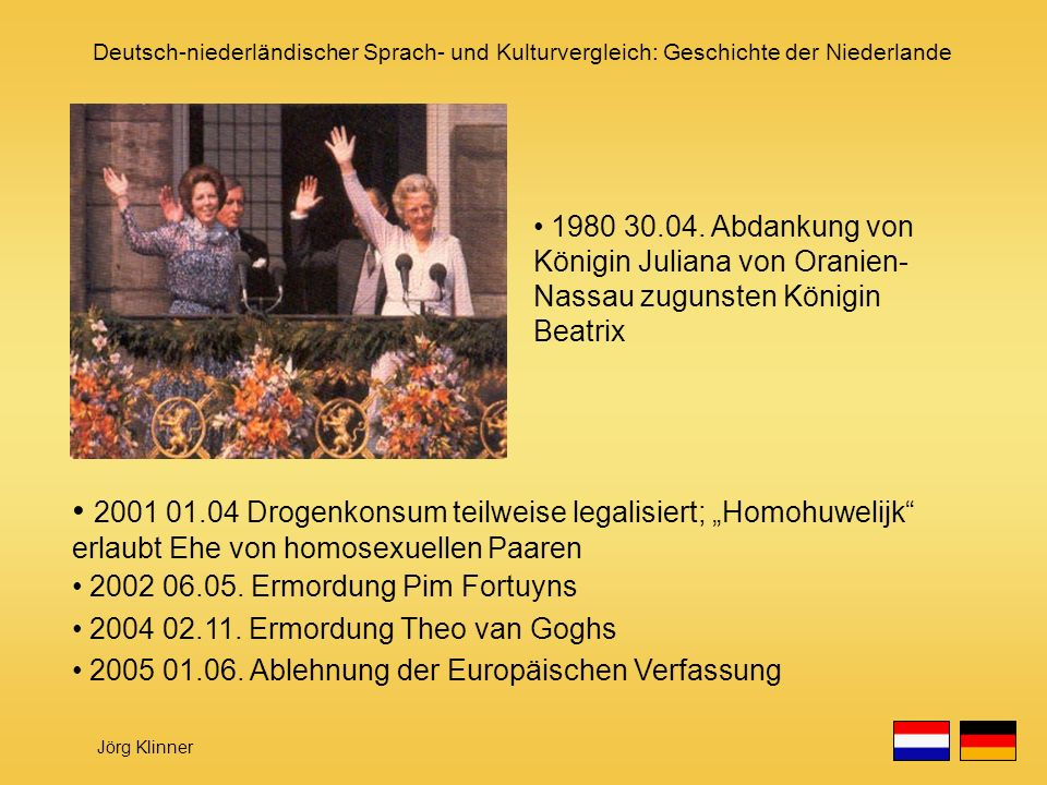 1980 30.04. Abdankung von Königin Juliana von Oranien-Nassau zugunsten Königin Beatrix