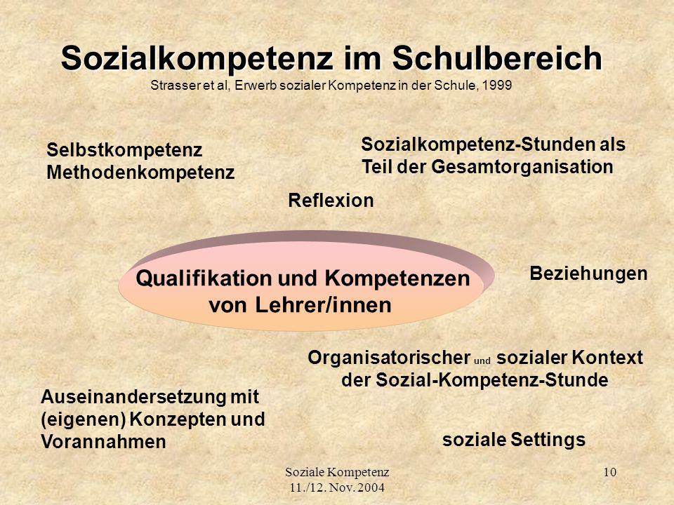 Sozialkompetenz im Schulbereich Strasser et al, Erwerb sozialer Kompetenz in der Schule, 1999