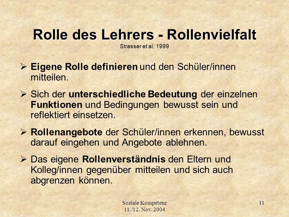 Rolle des Lehrers - Rollenvielfalt Strasser et al, 1999