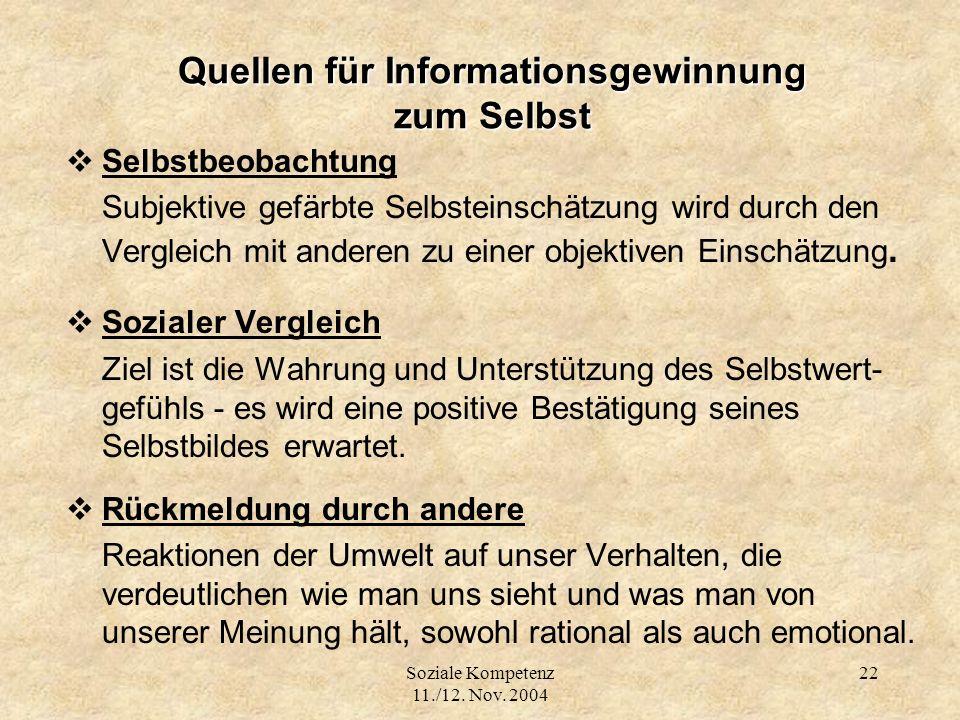 Quellen für Informationsgewinnung zum Selbst
