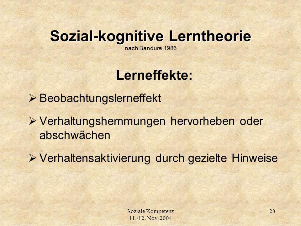 Sozial-kognitive Lerntheorie nach Bandura,1986