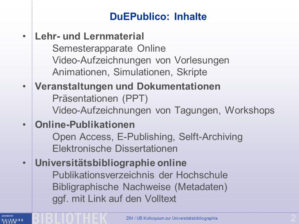 DuEPublico: Inhalte Lehr- und Lernmaterial Semesterapparate Online Video-Aufzeichnungen von Vorlesungen Animationen, Simulationen, Skripte.