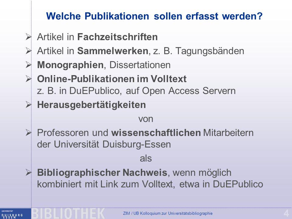 Welche Publikationen sollen erfasst werden
