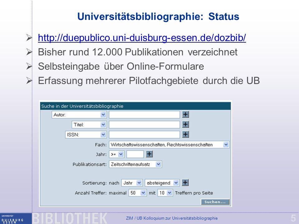 Universitätsbibliographie: Status