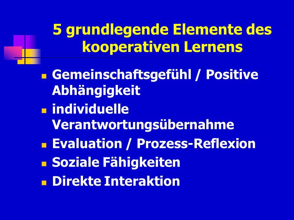5 grundlegende Elemente des kooperativen Lernens