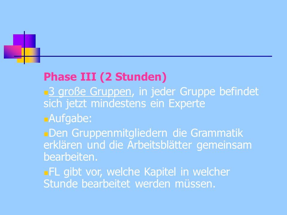 Phase III (2 Stunden) 3 große Gruppen, in jeder Gruppe befindet sich jetzt mindestens ein Experte. Aufgabe: