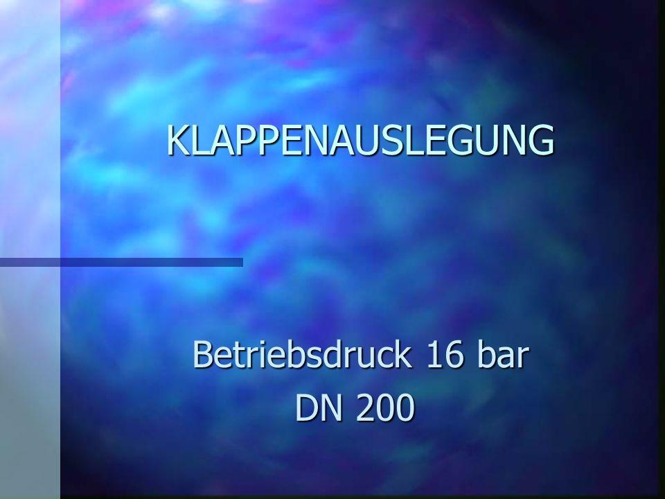 KLAPPENAUSLEGUNG Betriebsdruck 16 bar DN 200