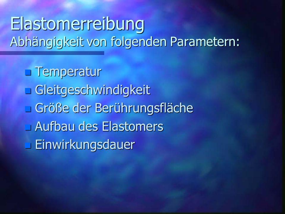 Elastomerreibung Abhängigkeit von folgenden Parametern: