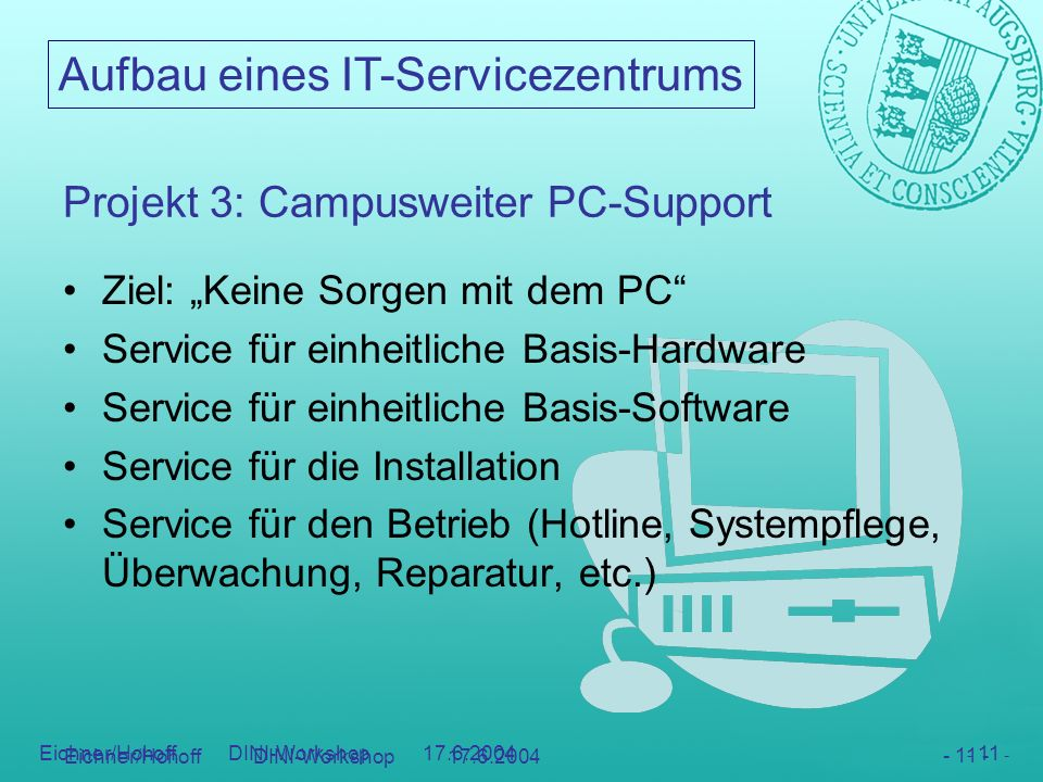 Projekt 3: Campusweiter PC-Support