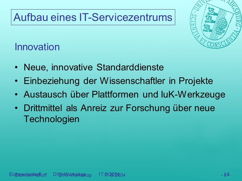 Innovation Neue, innovative Standarddienste