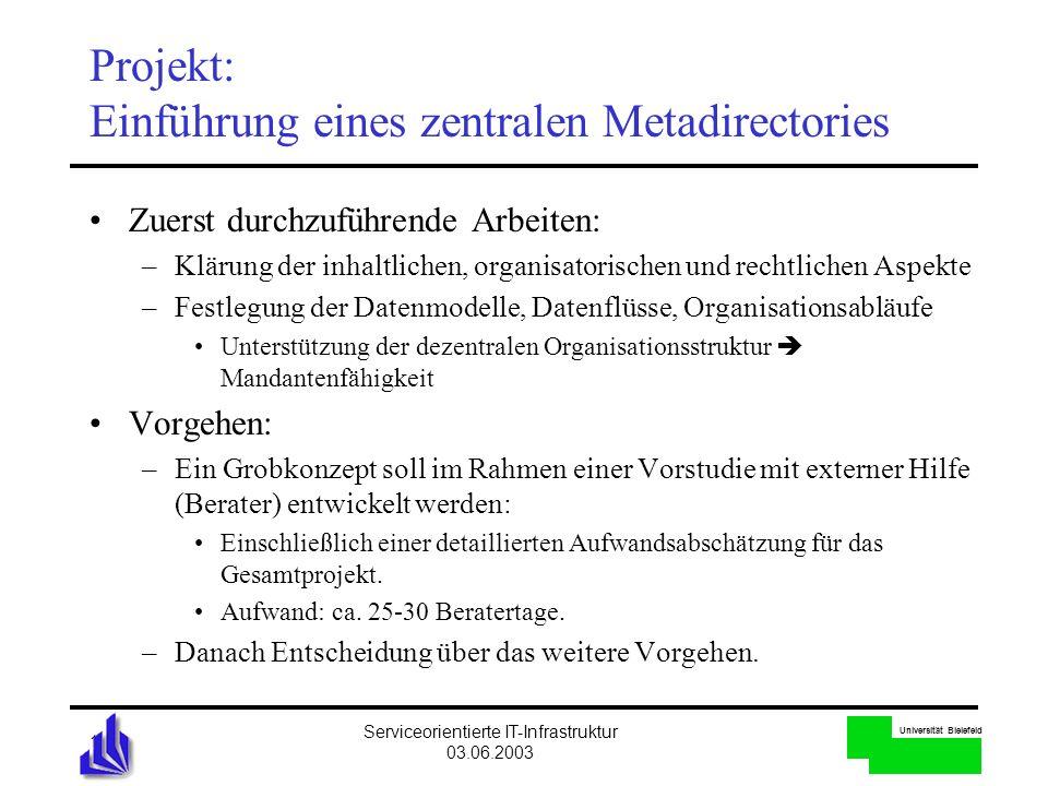 Projekt: Einführung eines zentralen Metadirectories