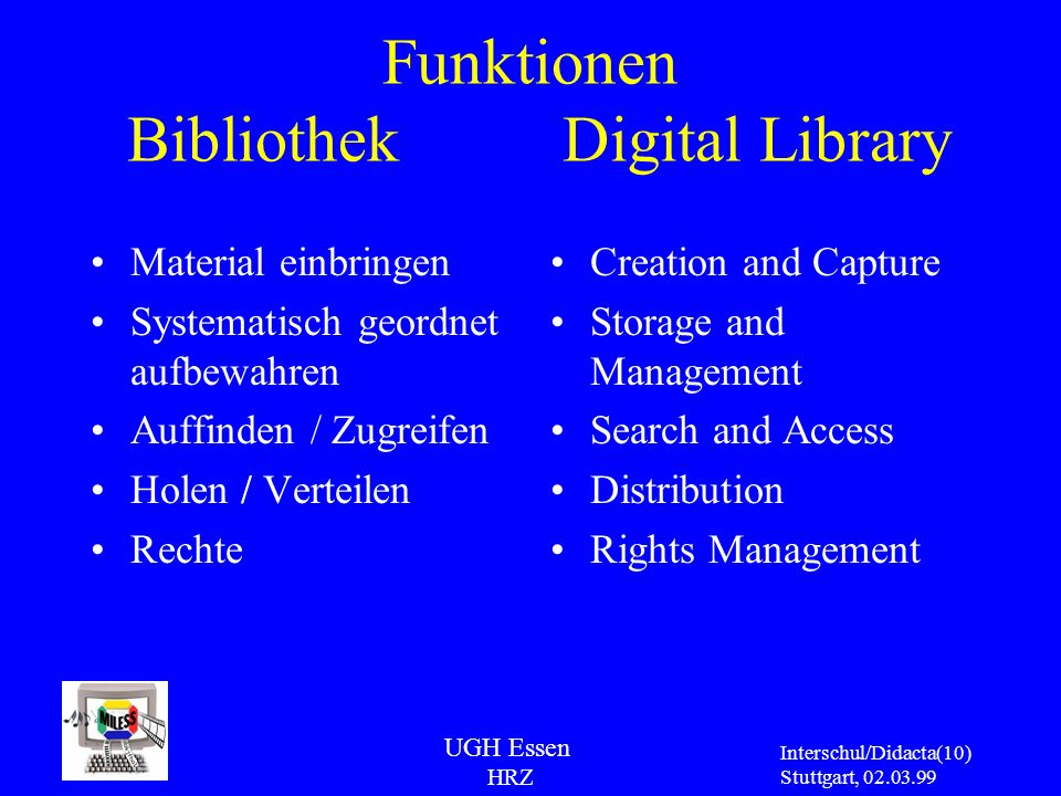 Funktionen Bibliothek Digital Library
