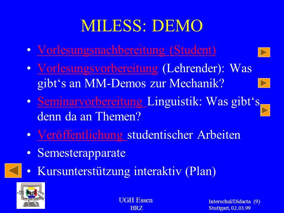 MILESS: DEMO Vorlesungsnachbereitung (Student)