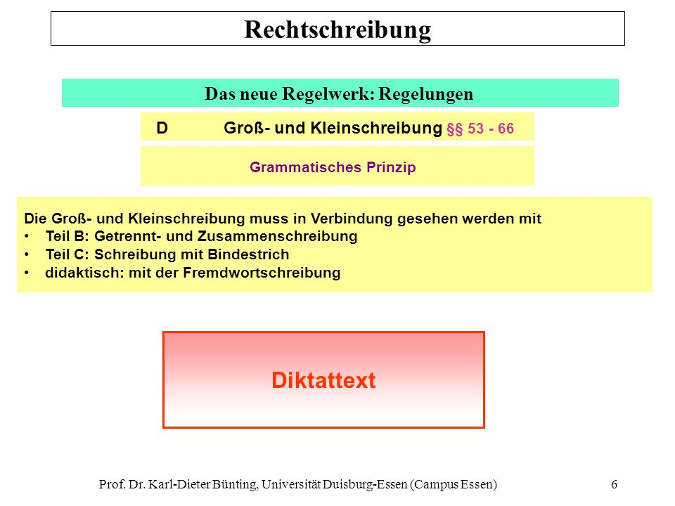 Rechtschreibung Diktattext Das neue Regelwerk: Regelungen
