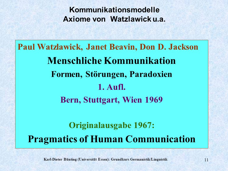 Menschliche Kommunikation Pragmatics of Human Communication