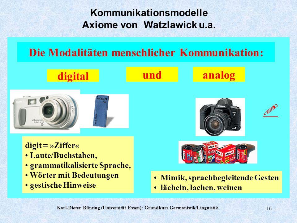  Die Modalitäten menschlicher Kommunikation: und analog digital