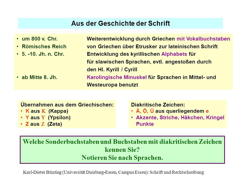 Aus der Geschichte der Schrift Notieren Sie nach Sprachen.