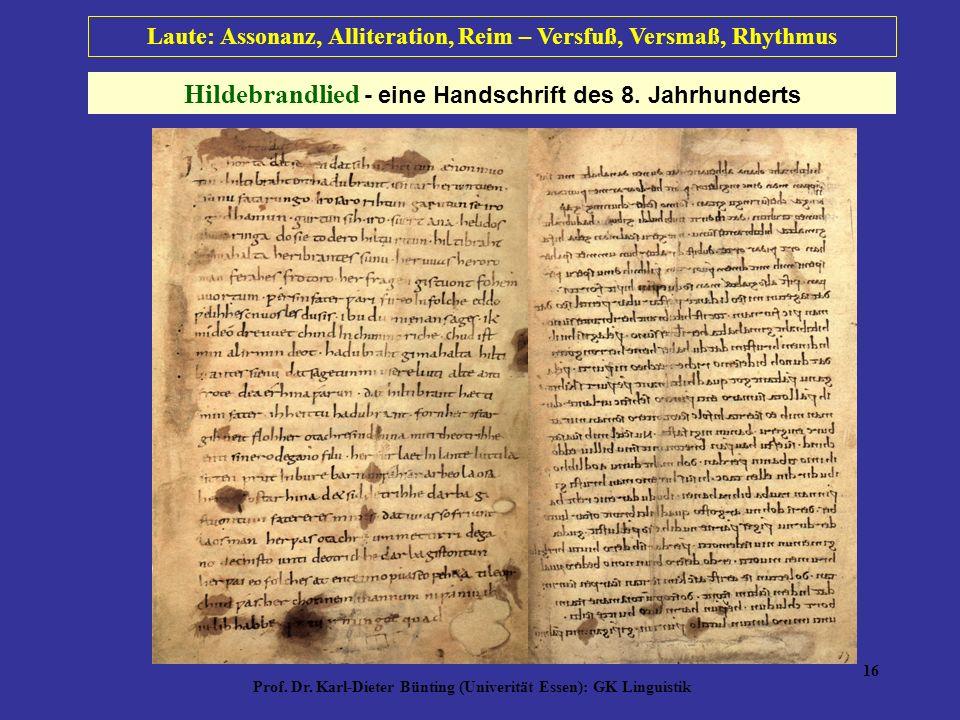 Hildebrandlied - eine Handschrift des 8. Jahrhunderts