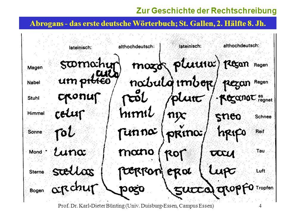 Abrogans - das erste deutsche Wörterbuch; St. Gallen, 2. Hälfte 8. Jh.