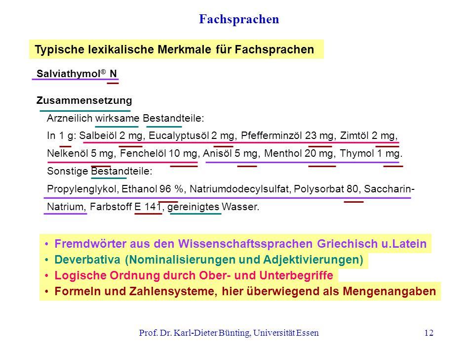 Prof. Dr. Karl-Dieter Bünting, Universität Essen