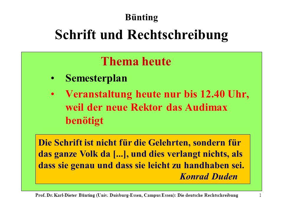 Bünting Schrift und Rechtschreibung