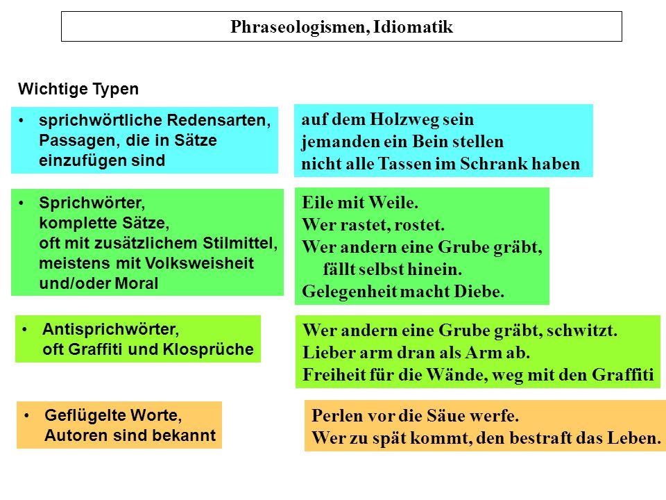 Phraseologismen, Idiomatik