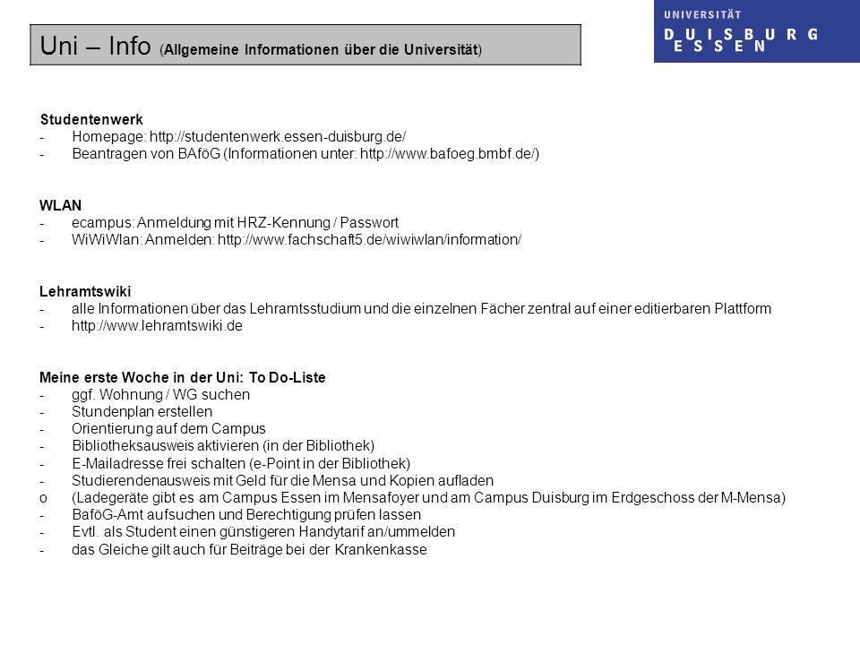 Uni – Info (Allgemeine Informationen über die Universität)