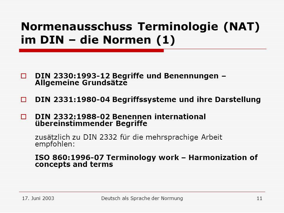 Normenausschuss Terminologie (NAT) im DIN – die Normen (1)