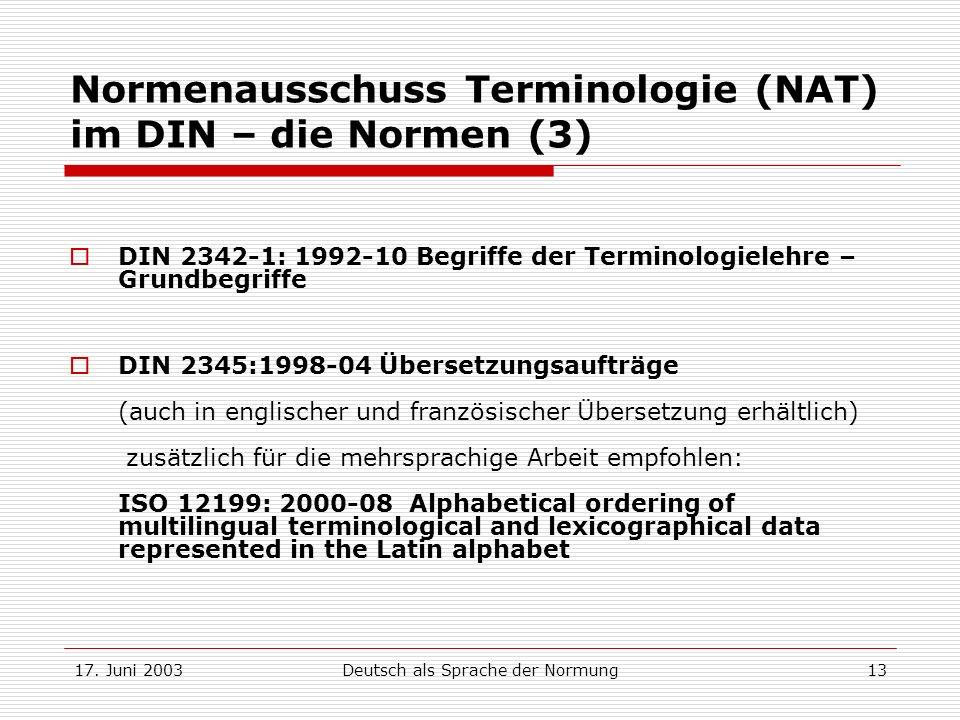 Normenausschuss Terminologie (NAT) im DIN – die Normen (3)