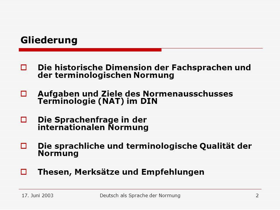 Deutsch als Sprache der Normung